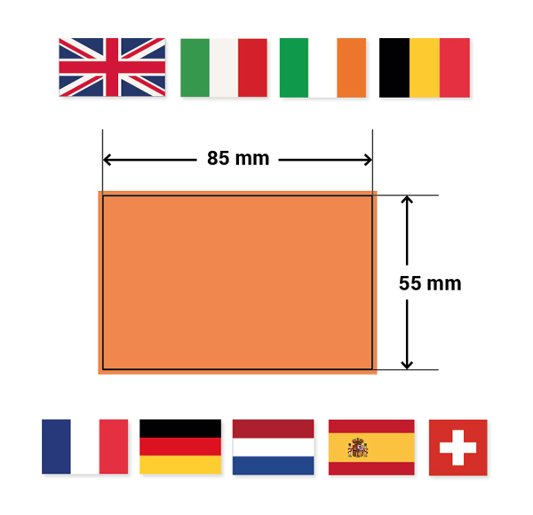 The ultimate design guide to standard business card sizes the uk ireland italy france germany the netherlands spain switzerland and belgium all tend to go for a slightly narrower average business card size reheart Choice Image