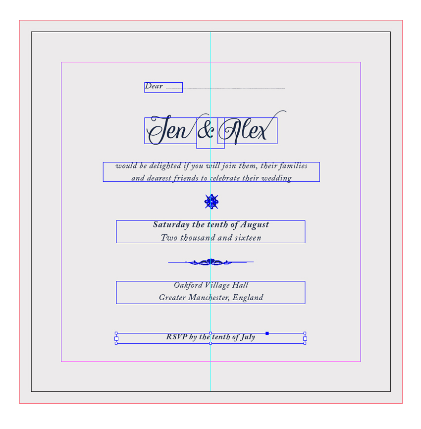 How to create a laser cut wedding invitation in illustrator and indesign text frame rsvp stopboris Choice Image