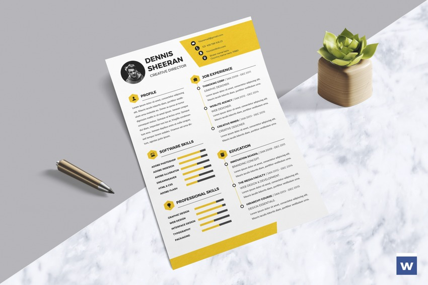 yellow resume