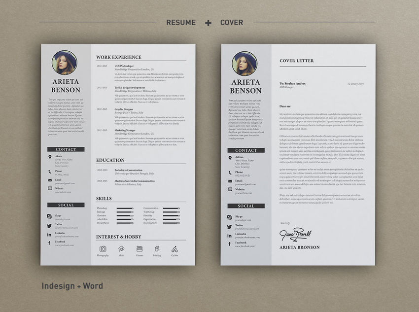 50 Professional Resume Cv Templates - Resume-template-indesign