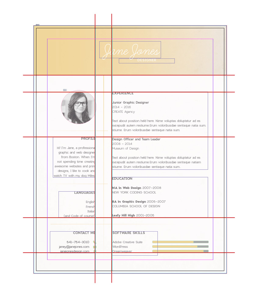 i think this is a great failsafe grid for a resume youll see this grid layout repeated in subtle variations across many professionally designed cvs