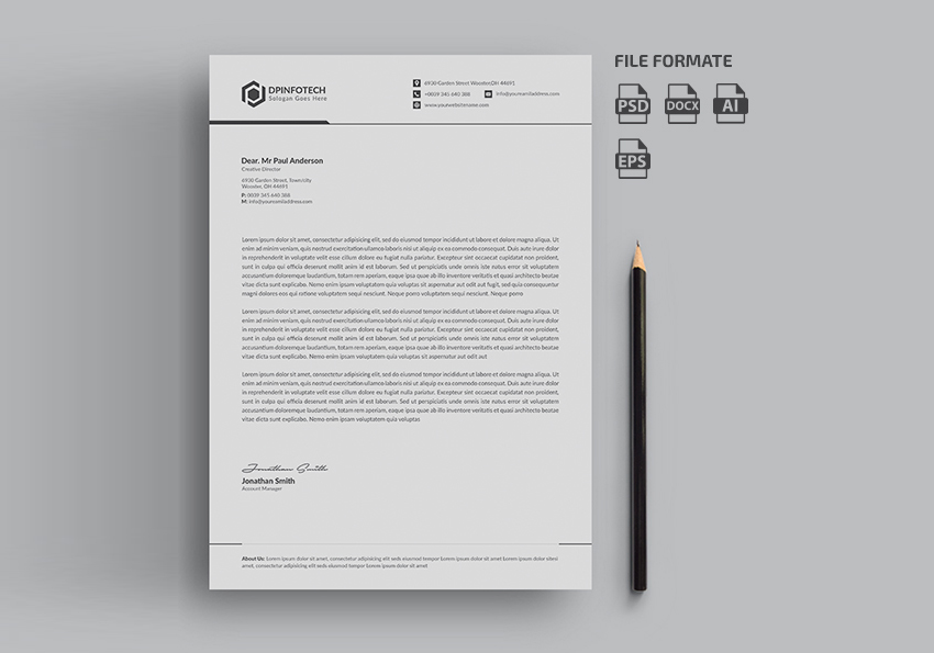 11 tips for creating professional letterhead simple letterhead template spiritdancerdesigns Gallery