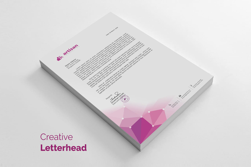 11 tips for creating professional letterhead creative low poly letterhead template spiritdancerdesigns Image collections