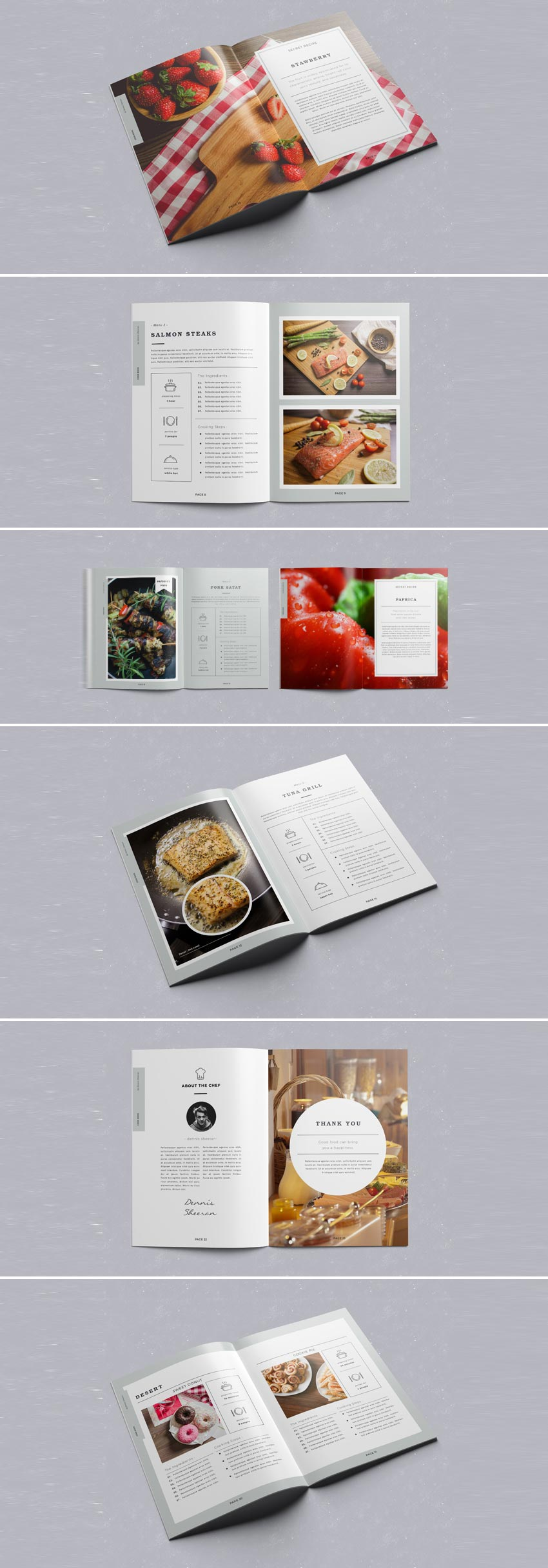 cookbook indesign template