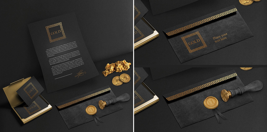 gold stationery template