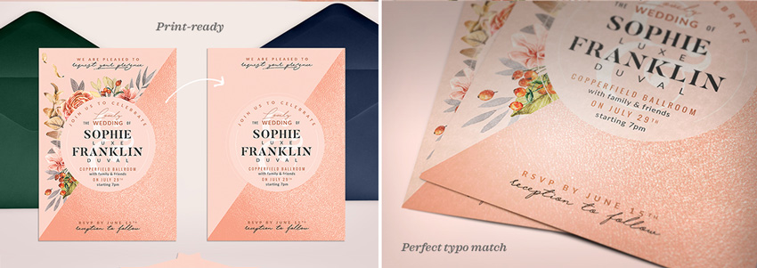 blush copper invite template