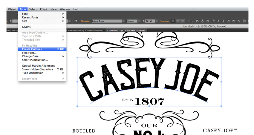 how to create outlines in illustrator