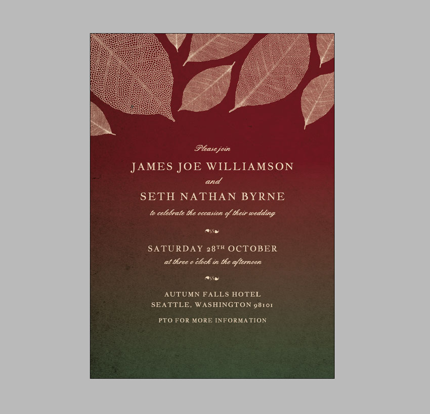 How to create a fall themed wedding invite in adobe indesign your invitation design is finishedgreat job you can skip ahead to section 5 below to find out how to export your design however if you want to add an stopboris Choice Image