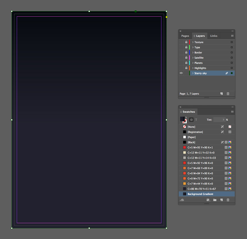 how to create linear background indesign