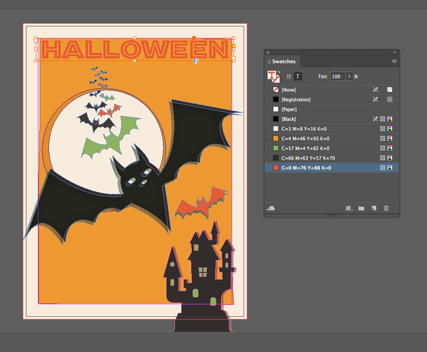 halloween text frame