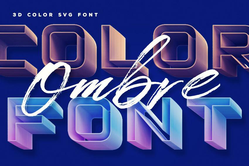 ombre color font