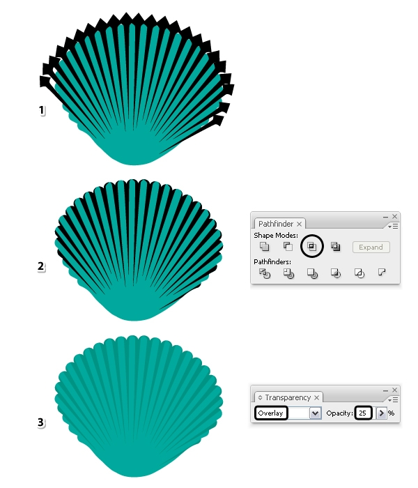 Now, Select The Group Of Shapes Along With The Copy Of The Seashell And  Press Intersect In The Pathfinder Panel (2). Set The Resulting Shape To  Blending ...