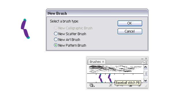 Create baseball stitch brush 2