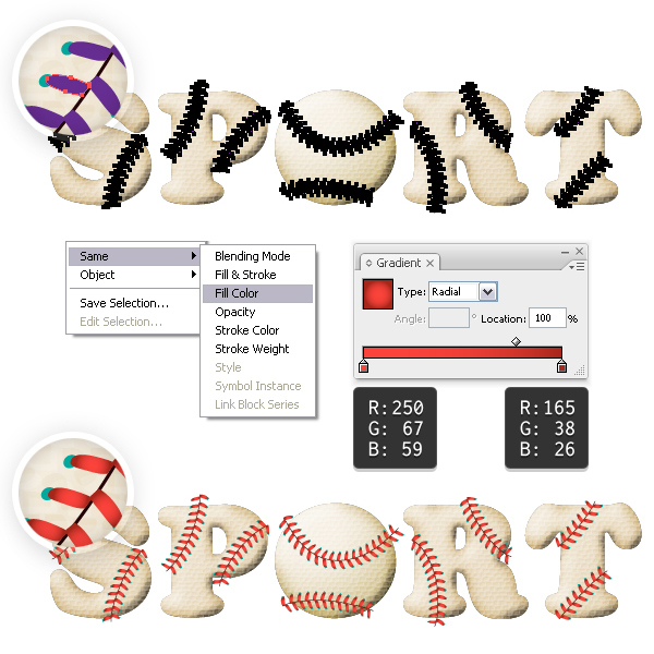 Color the baseball stitches