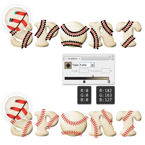 Color the baseball stitches 2