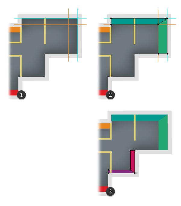 draw exterior walls 3