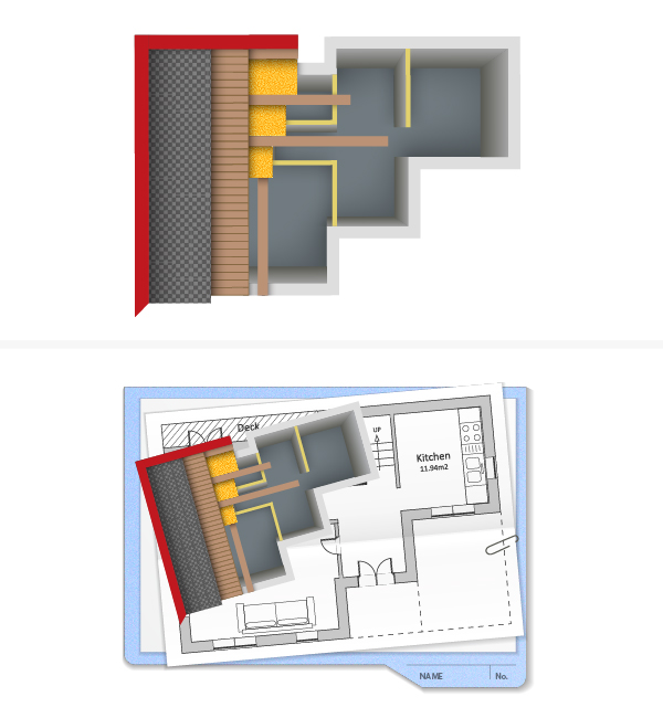 arrange house mockup on folder