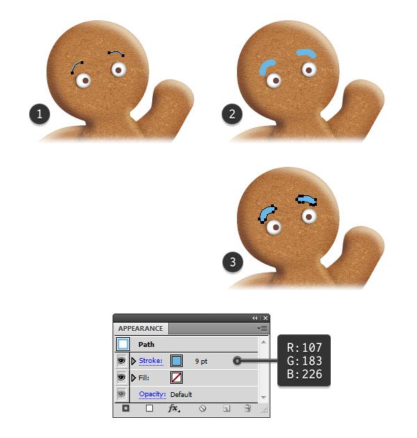 create gingerbread man eyebrows 1