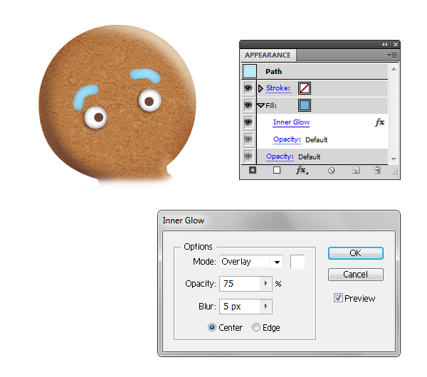 create gingerbread man eyebrows 2