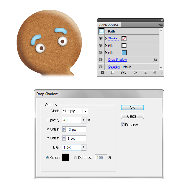 create gingerbread man eyebrows 4