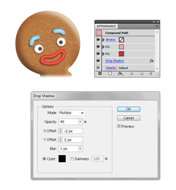 create gingerbread man mouth 3