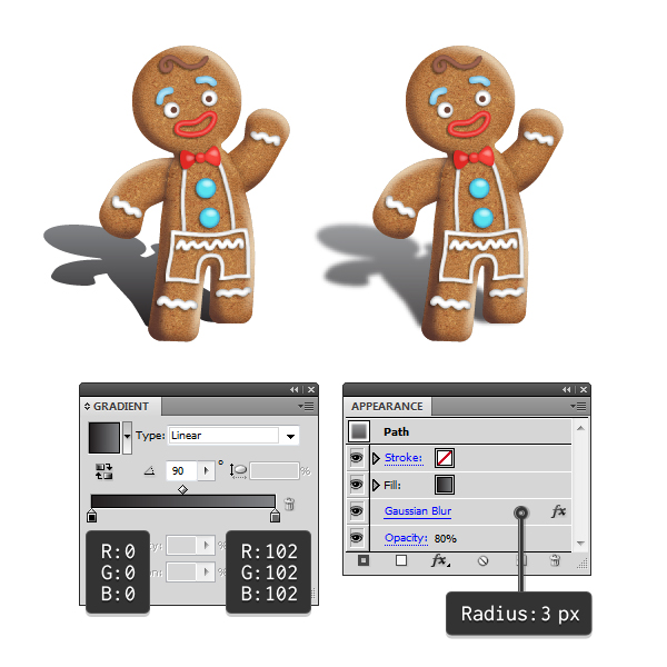 create gingerbread man shadow 3
