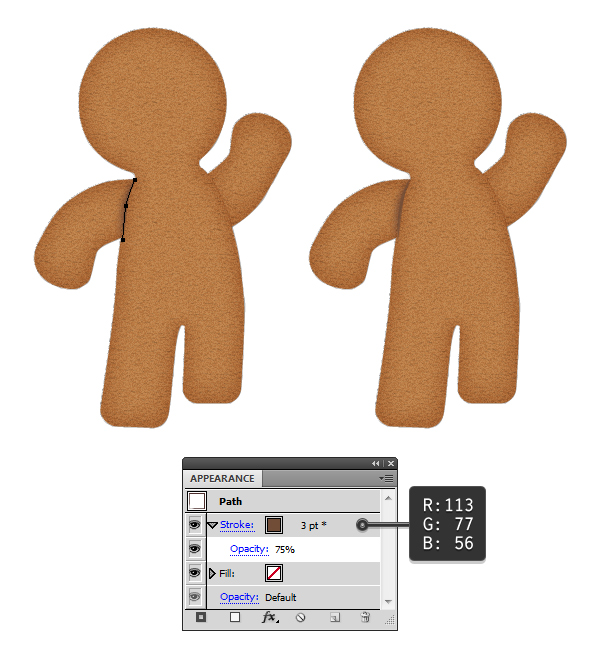 add shadow to gingerbread arms 2