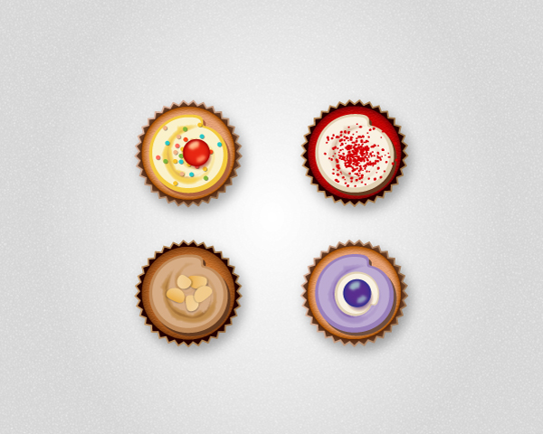 overhead view cupcake icons