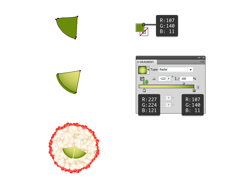 create a piece of avocado for uramaki sushi filling