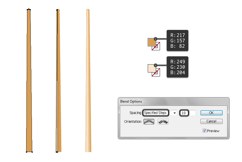 create vector chopstick with blend tool