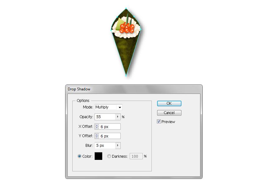 create shadow for temaki sushi