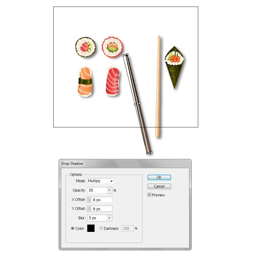 create shadow for vector chopsticks