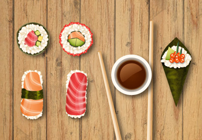 Diana vector sushi icons tut preview