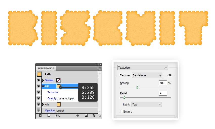 create the biscuit texture