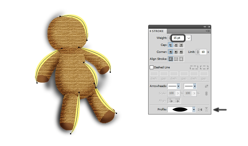 draw highlight paths on the voodoo doll