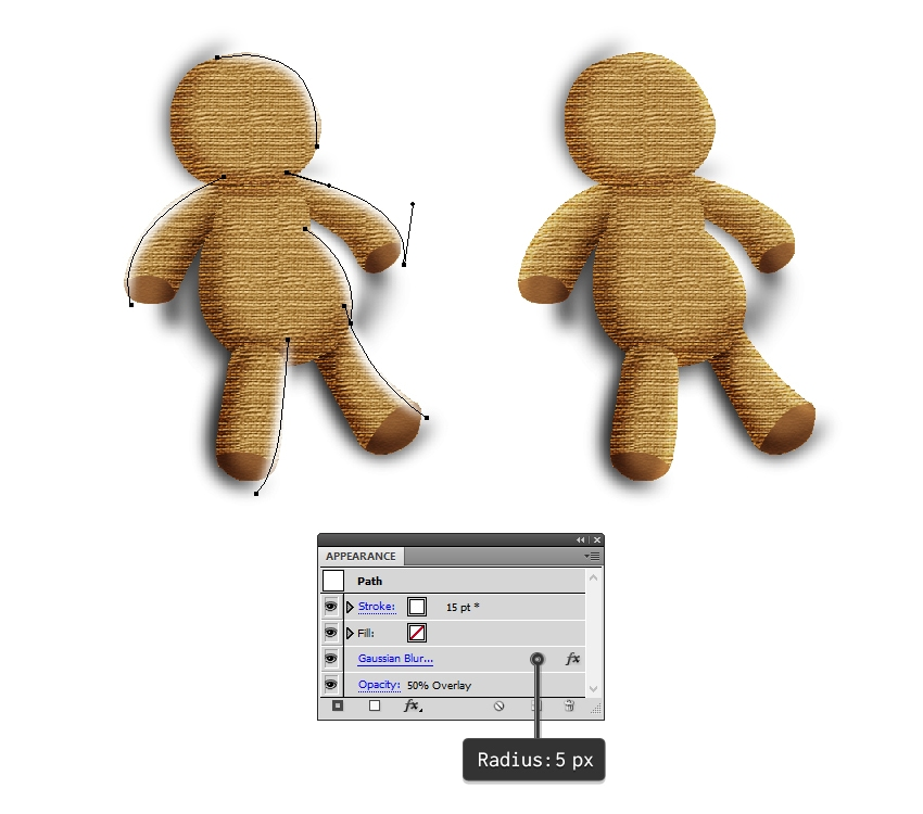 create highlights on the voodoo doll