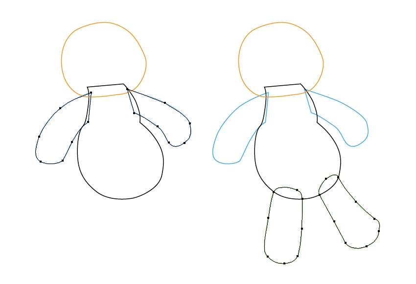 draw the arms and legs of the voodoo doll