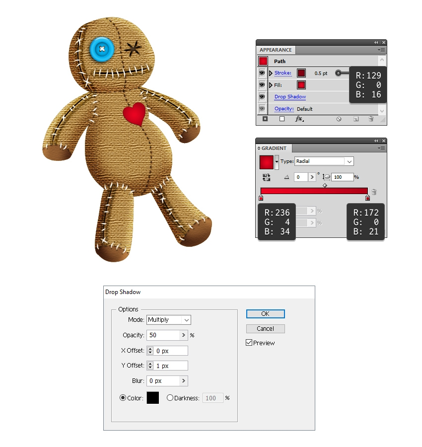 create the heart patch on voodoo doll