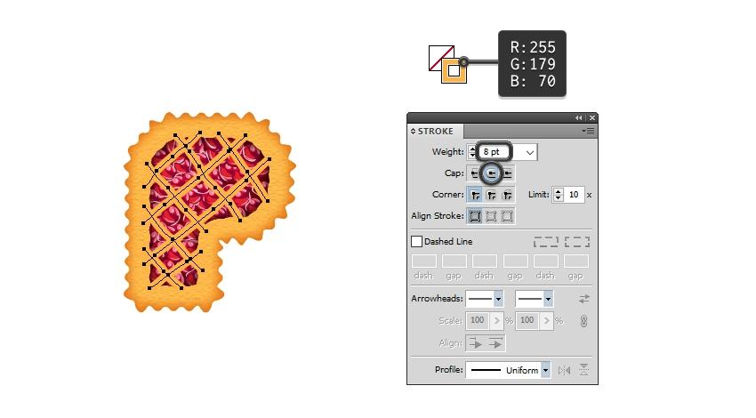 create lattice top on letter P