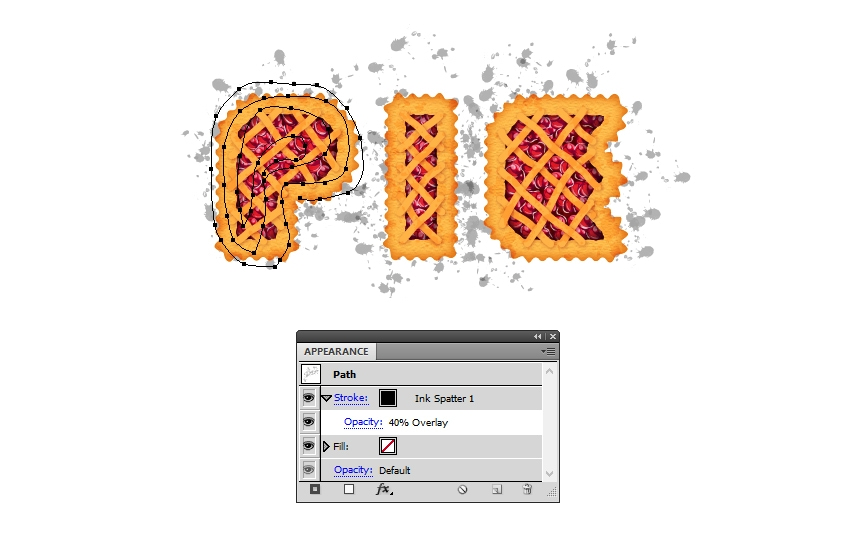 settings for black splats on pie letters