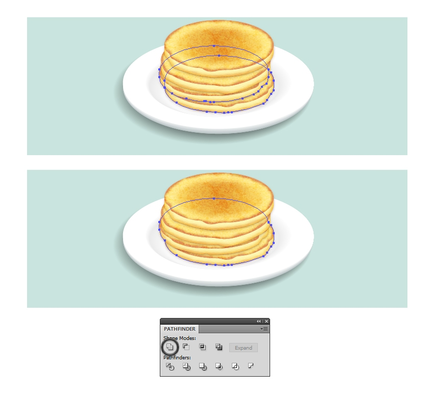 create shadow shape under the pancakes