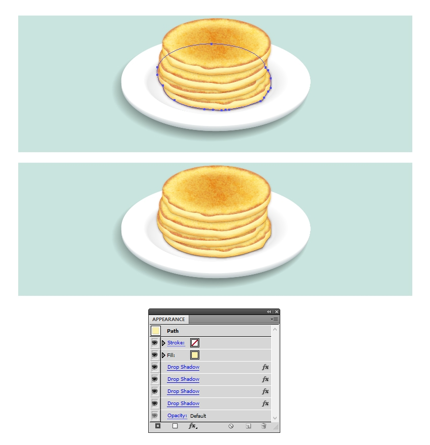 add shadow under the stack of pancakes