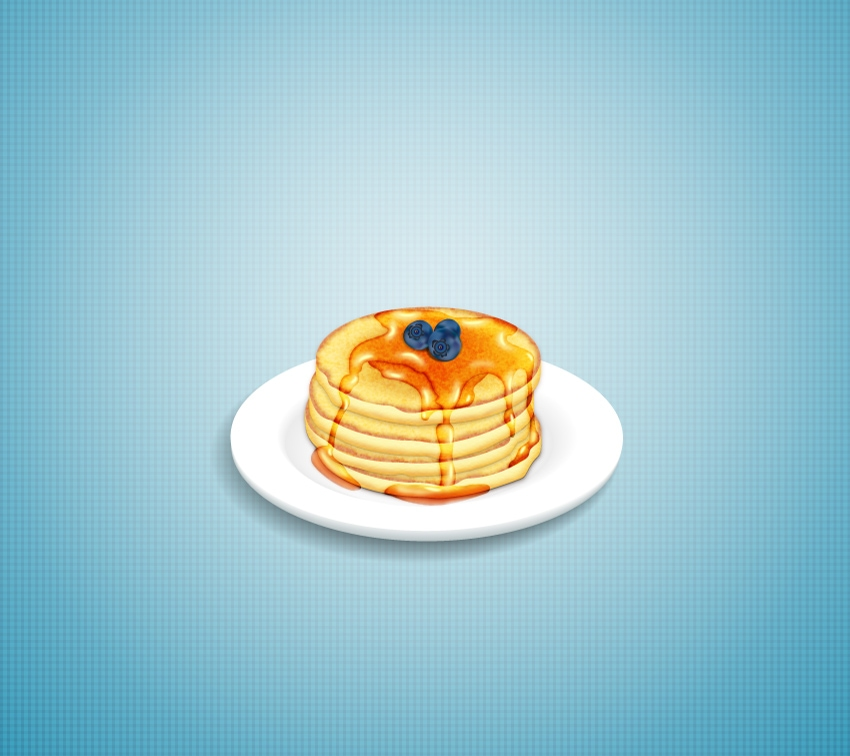stack of pancakes with syrup and blueberries final image