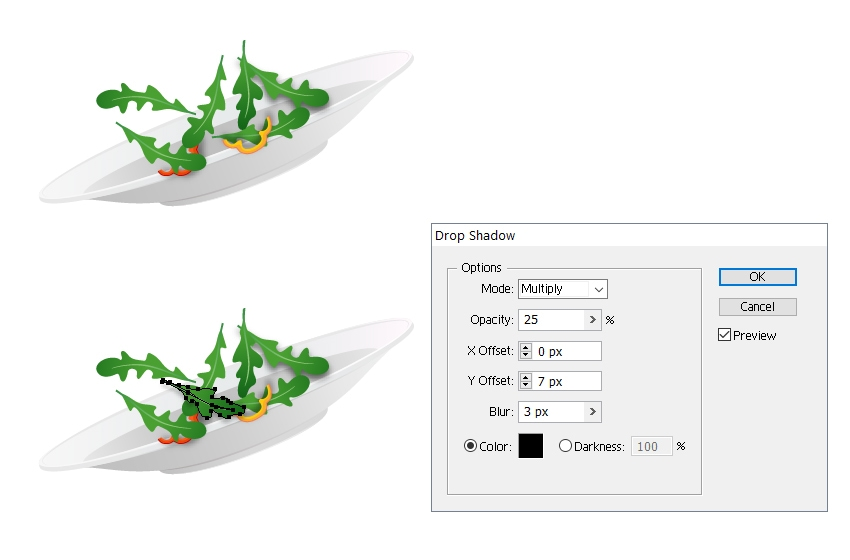 arrange more rocket leaves on plate