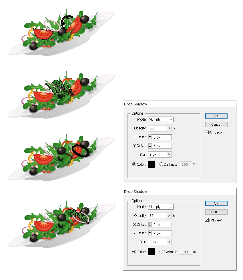 arrange more salad ingredients on plate