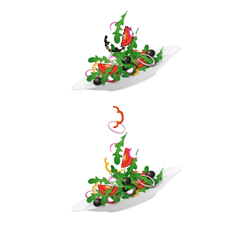 arrange salad ingredients up in the air