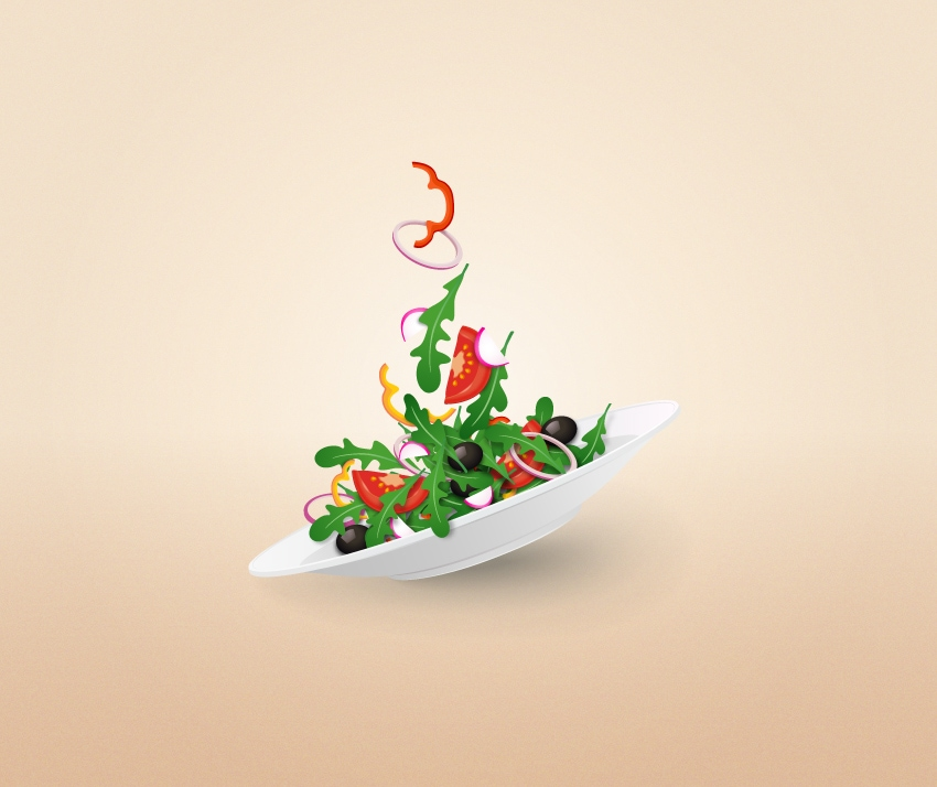 salad plate vector illustration adobe illustrator tutorial