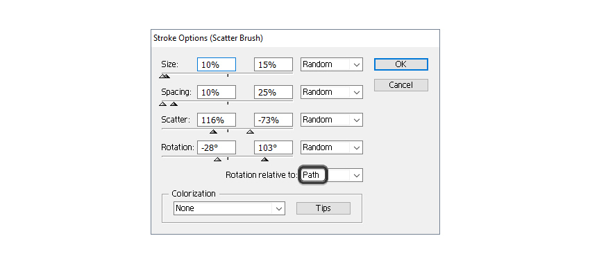 how to change settings for poppy seeds scatter brush