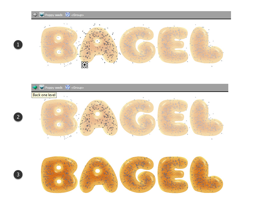 how to clean up poppy seeds around the bagel letters
