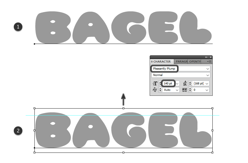 how to type the bagel text